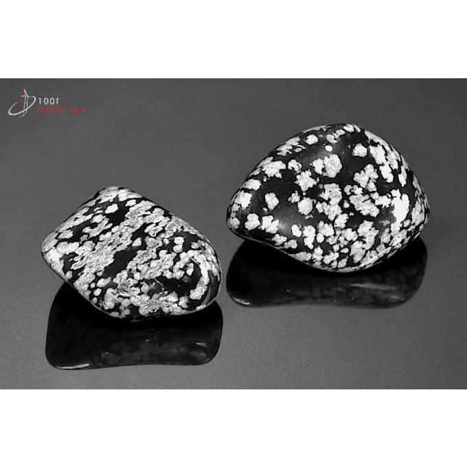 Lot de 2 Obsidiennes flocons de neige polies - Mexique - pierres roulées 2.7 - 3.1 cm / 21 g / AT103