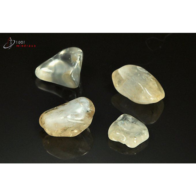 Lot de 4 Citrines polies - Brésil - pierres roulées 1.7 - 2.1 cm / 14 g / AT57